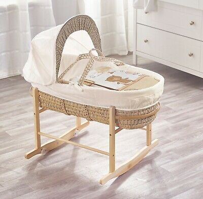 Beary Nice Cream Palm Moses Basket on Deluxe Natural Rocking Stand