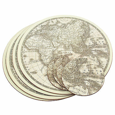 Set of 4 Placemats & Coasters Round Cork Table Place Settings Atlas Globe World