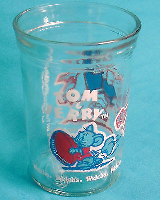 Welch's TOM & JERRY FOOTBALL clear glass 8oz jelly jar, red & blue art, © 1991