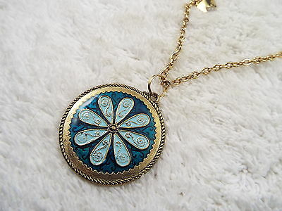 Goldtone Blue Flower Pendant Butterfly Charm Necklace (A54)