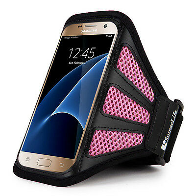 Pink / Black Mesh Workout Sport Gym Armband Case for Samsung Galaxy S7 Edge