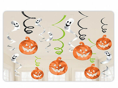 12 x Halloween Pumpkin Ghost HANGING SWIRLS Value Pack Spooky Party Decorations