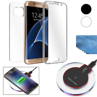 Classic Wireless Charger Charging Pad+Clear TPU Cover Case for Galaxy S7 Edge