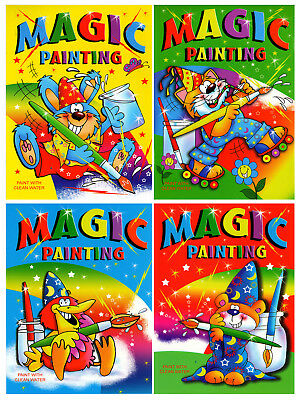 4 X A4 Magic Painting Colouring Art Books For Children No Mess Craft Series 920