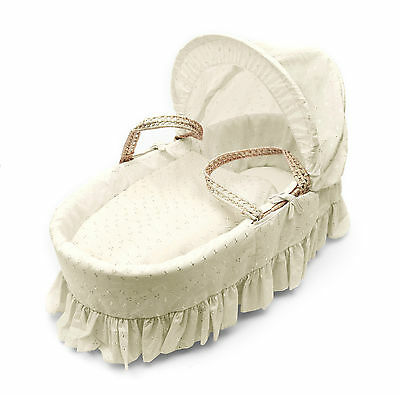 Cream Broderie Anglaise  Moses Basket 4 Piece Dressing (Basket Not Included)