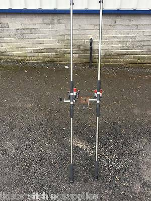 2 x Grandeslam 12ft 2pc Beach Caster Rods + 2 Silk 70 Sea Fishing Reels
