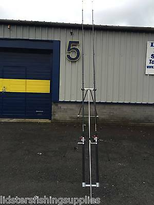 2 x NGT 12ft 2pc Beach Rods + 2 Silk 70 Sea Fishing Reels + Tripod Set