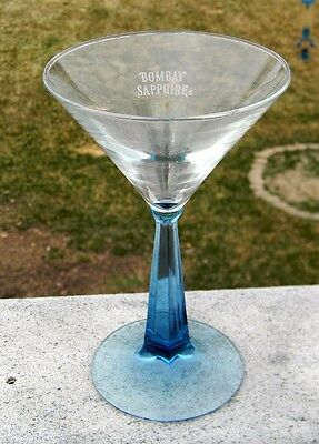 New Bombay Sapphire Gin Martini Glass Blue Stem Etched