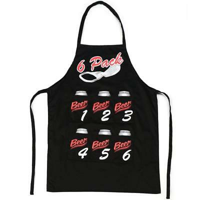 Mens Six 6 Pack Black Funny Chefs Cooking Kitchen BBQ Apron Novelty Fathers Day