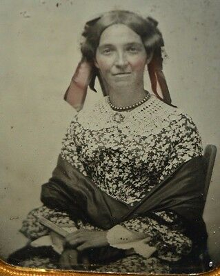 Antique Daguerreotype Youthful Middle Age Woman Rosy Cheeks Floral Dress
