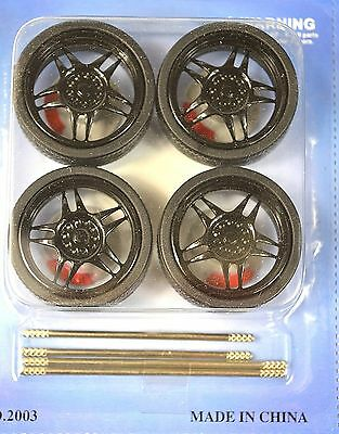 Low Profile Black 4 Wheel Set 1:18 & Brake Discs Lopro 2003Bk 5 Spoke Wide Ctr