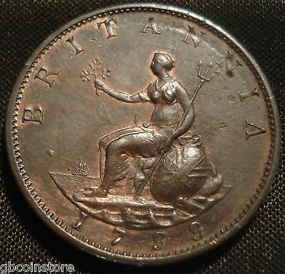 1799 George Iii Halfpenny Higher Grade Hints Of Lustre