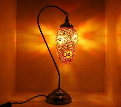 Turkish Table Lamp Moroccan Table Light LED Gold Swan With Multi Coloured Glass