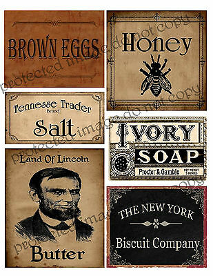 Primitive Style Labels  Lincoln Butter, Honey, Eggs    #FH460