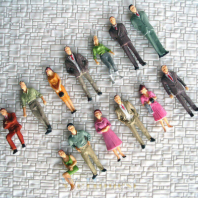 13 x Model Railroad O scale 1:48 Painted Figures People train Passenger #F13