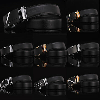 Fashion Mens Genuine Leather Automatic Buckle Belts Waist Strap Belt Waistband