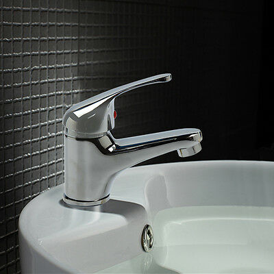 Modern Quality Bathroom Single Lever Chrome Tidy  Mono Basin Sink Mixer Tap UK