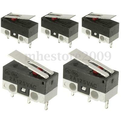 5 Pcs 2A 125V Mini Long Lever Arm Actuator SPDT Sub Miniature Limit Micro Switch