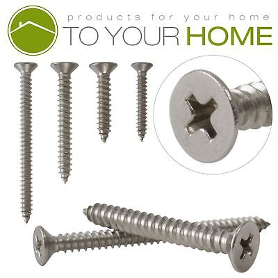 Countersunk Self Tapping Pozi Wood Chipboard Screws A2 Stainless Steel 10g 4.8mm