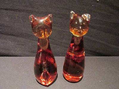 """Mantorp Sweden Pair of Vintage Amber Art Glass Cats 4"""" tall with stickers"""