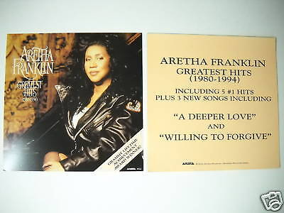 ARETHA FRANKLIN 2-sided PROMO DECORATOR FLAT from 1994