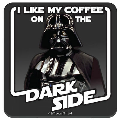 I Like My Coffee On The Dark Side Coaster Retro Star Wars Darth Vader Drinks Mat