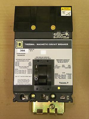 Square D Gray Label FA FA34030 3 pole 30 amp 480v Circuit Breaker UR