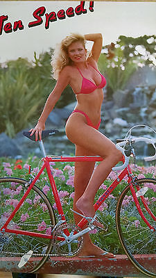 1988 Stacy Alden sexy blonde on Univega bicycle vintage wall poster PBX255