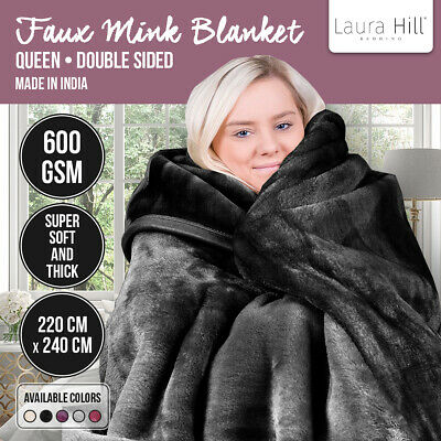 Mink Blanket Black Double Sided Queen Size Soft Plush Bed Faux Throw Rug