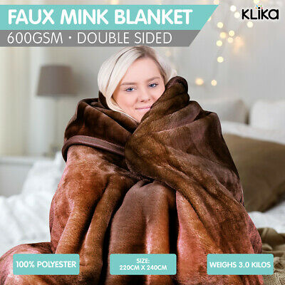Mink Blanket Chocolate Double Sided Queen Size Soft Plush Bed Faux Throw Rug