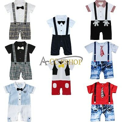 Baby Boys One Piece Wedding Formal Tuxedo Suits Gentleman Romper Outfit NEWBORN