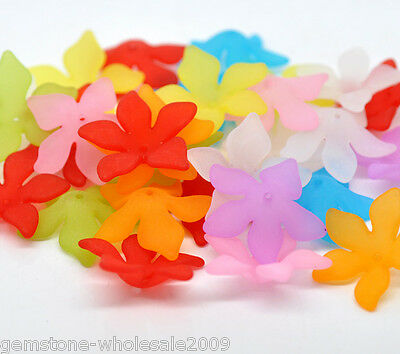 Wholesale Lots Mixed Flower Frosted Acrylic Beads 28x7mm