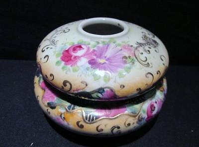 Hair Receiver Handpainted Vintage 2- Piece China with Floral & Gilt Design