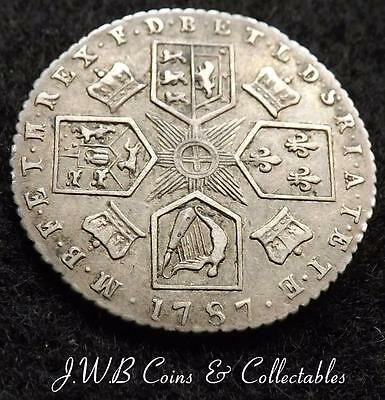 1787 George III Silver Sixpence 6d Coin - With Hearts - Great Britain