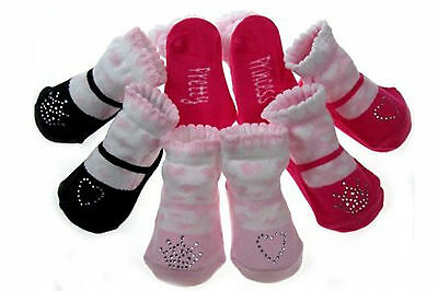 New Baby girl girls mary jane pink black heart crown pretty socks 0-6 months