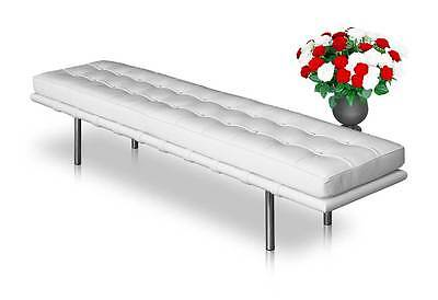 Long Bauhaus leather seating bench. Real leather & white wood. Length 198 cm.