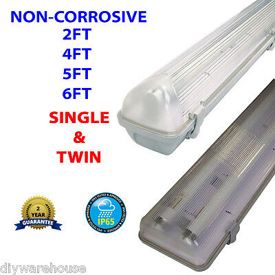 2,4,5,6Ft Non-Corrosive Fluorescent Light Fitting Weatherproof Single & Twin New