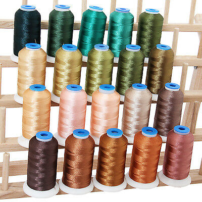 Polyester Machine Embroidery Thread Set 20 Nature Colors - 1000M Cones - 40Wt