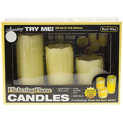 Pack of 3 Real Wax Decorative Flickering LED Candles Realistic Flame Ambient New