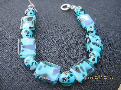 BEAUTIFUL Glass Turquoise & Black Speckled Stretch Bead Bracelet...#6394