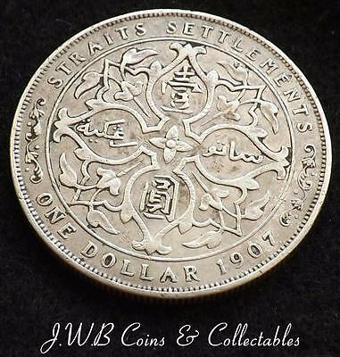 1907 Edward VII Straits Settlements Silver 1 One Dollar Coin