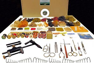 COMPLEAT FLY TYING KIT -  DVD, Tools, Feathers, Material 132 Items