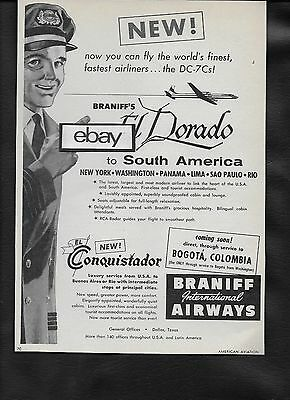 Braniff International 1957 Dc-7C El Dorado Service To South America Pilot Ad