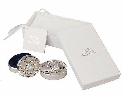 Silver Plated Baby First Tooth & Curl Boxes Gift Box Christening Gift CG313C