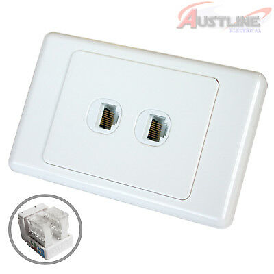 RJ45 Cat6 2Gang Network LAN Jack with2 Port DATAMASTER® Wall Plate dw2C90