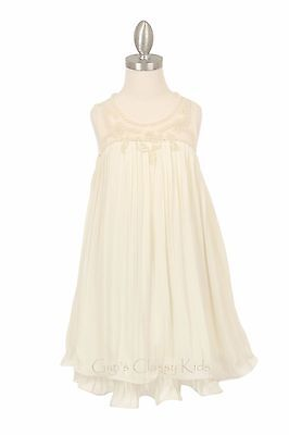 New Flower Girl Ivory Dress Wedding Bridesmaid Birthday Formal Pageant Party 509