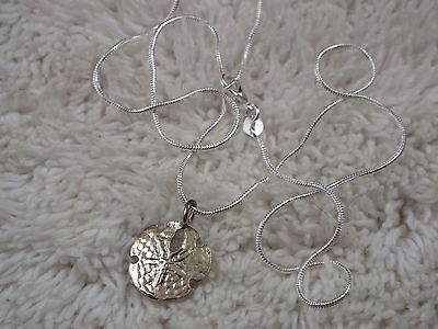 Sterling Silver Sand Dollar Pendant Necklace (A55)