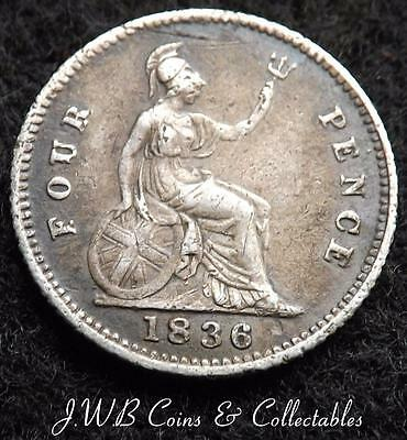 1836 William IV Silver Groat / Fourpence Coin - Great Britain Good Detail