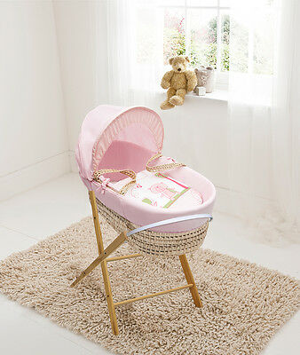 Beary Nice Pink Palm Moses  Basket & Folding Stand