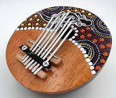 Hand Crafted Coconut and Wood Kalimba Thumb Piano Gecko Design Dot Painting